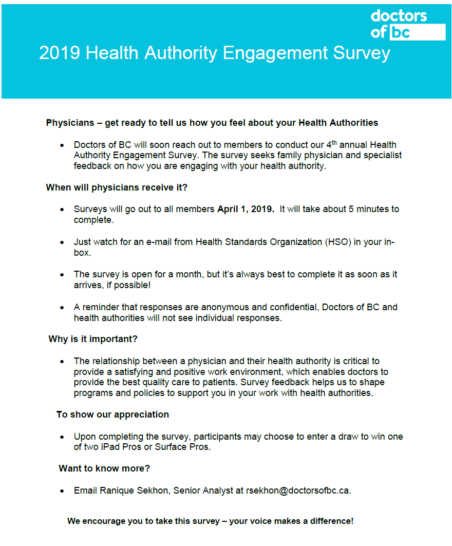 Doctors of BC Engagement Survey | Divisions of Family Practice