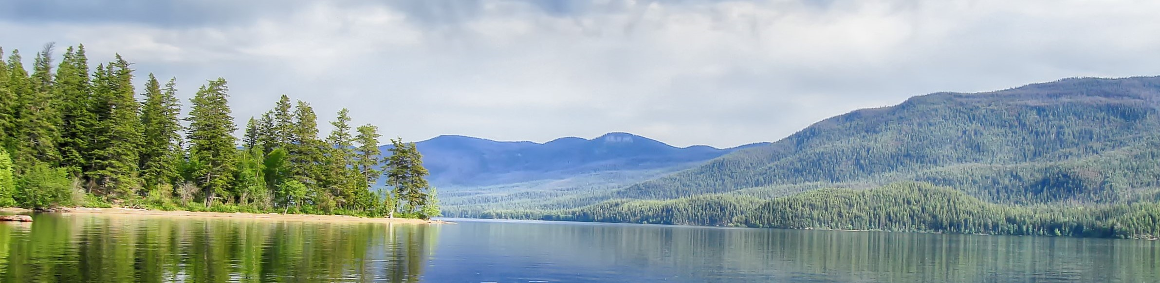 View of Francois Lake and surrounding mountains, in Northern British Columbia.