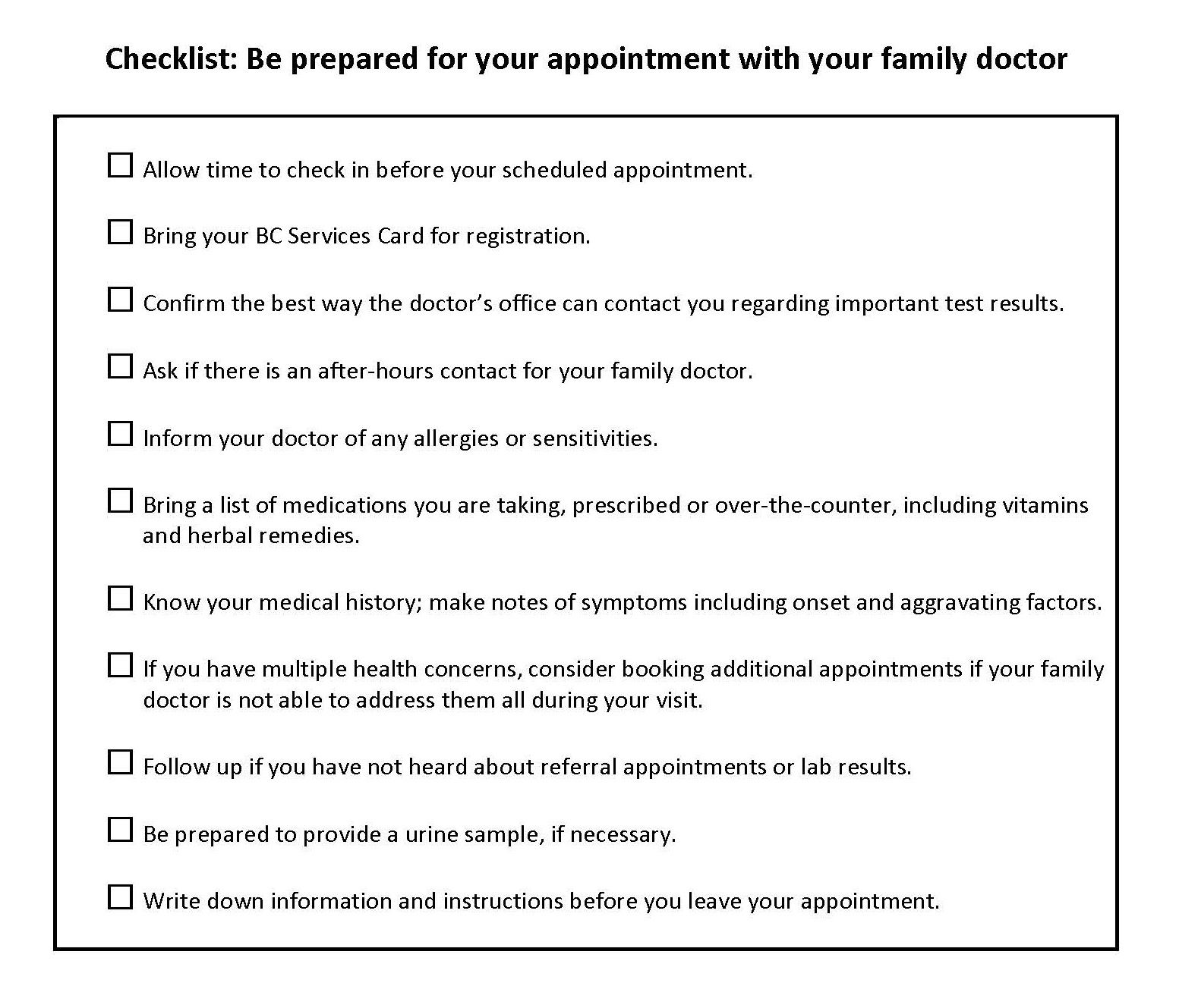 Checklist:  Be prepared for your appointment