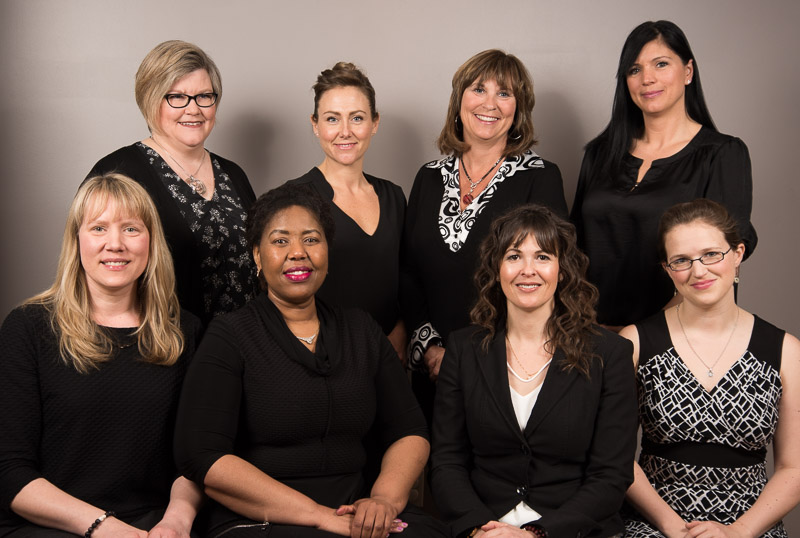 Back row from left to right:  Joanne Meyrick, Executive Assistant; Sheena Brink, Program Assistant; Laurie Walters, Recruitment & Retention; Tanya  Kielpinski, Program Lead  Front row from left to right:  Shilo Labelle, Administrative Assistant; Tshidi Machete, Recruitment & Retention; Jill Zirnhelt, Executive Director; Sarah Fletcher, Program Lead